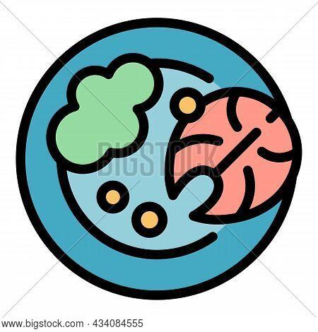 Fish Mashed Potato Icon. Outline Fish Mashed Potato Vector Icon Color Flat Isolated
