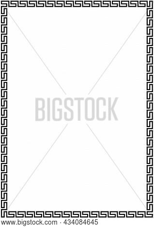 Meander Frame Ornament On Isolated White Background. Antique Ornate Perfect For Backgrounds, Illustr
