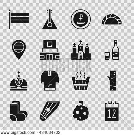 Set Calendar 12 June, Birch Tree, Bottle Of Vodka With Glass, Rouble, Ruble Currency, Mausoleum Leni