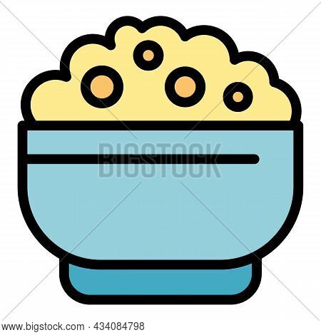 Tasty Mashed Potatoes Icon. Outline Tasty Mashed Potatoes Vector Icon Color Flat Isolated
