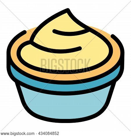 Delicious Mashed Potatoes Icon. Outline Delicious Mashed Potatoes Vector Icon Color Flat Isolated