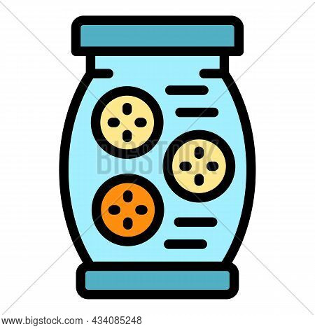 Full Pickles Jar Icon. Outline Full Pickles Jar Vector Icon Color Flat Isolated