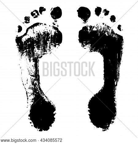 Feet Prints Of Child. Imprint Of Boy Feet, Texture. Vector Illustration