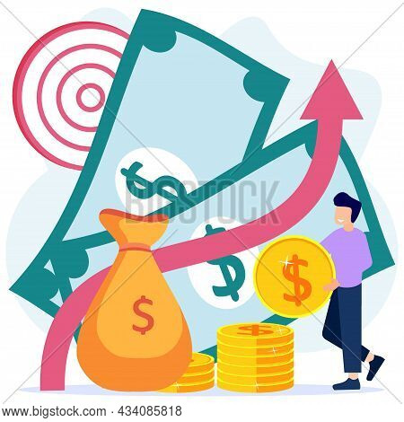 Vector Illustration Of Development Progress As Increasing Success And Growth Of Enterprise Revenue P