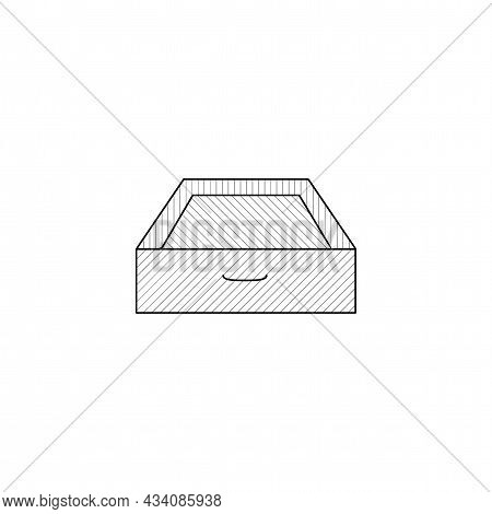 Drawer Vector Thin Line Icon. Drawer Hand Drawn Thin Line Icon.