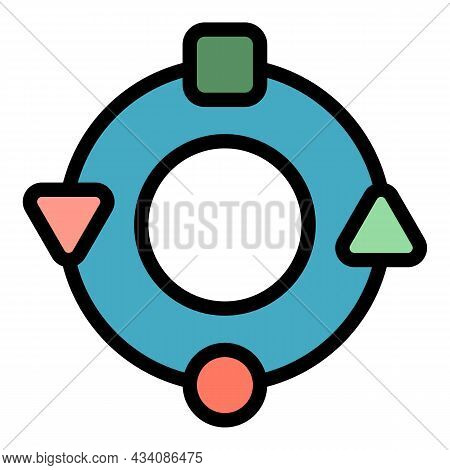 Adaptation Circle Icon. Outline Adaptation Circle Vector Icon Color Flat Isolated