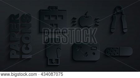 Set Fitness Club, Gym Card, Sport Expander, Boxing Glove, Vitamin Pill, Apple And Gym Building Icon.