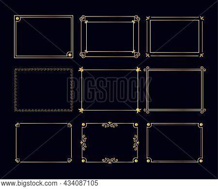 Gold Ornaments In The Art Deco Style. Arabic Vintage Decorative Gold Frame, Retro Geometric Decorati