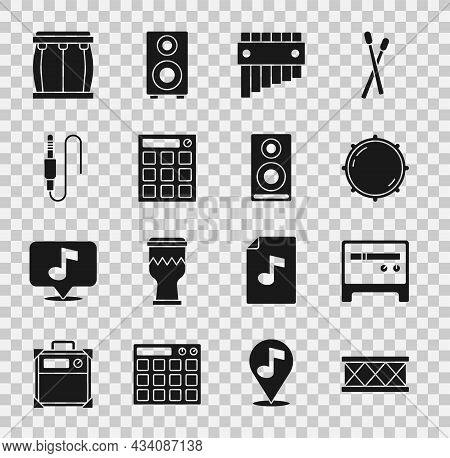 Set Drum, Guitar Amplifier, Dial Knob Level, Pan Flute, Machine, Audio Jack, And Stereo Speaker Icon