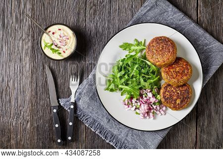 Vegan Lentil And Bean Burgers Patties With Rocket Leaves, Red Onion And Hummus On A Plate On A Dark