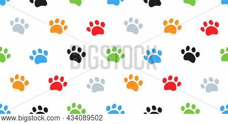 Dog Paw, Cat Paws Seamless Pattern. Puppy Foot Print Mark