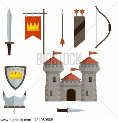 Medieval Set Of Item. European Castle With Tower, Shield, Sword, Red Flag, Tournament, Arrow, Bow, Q