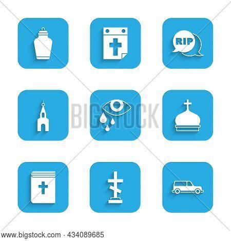 Set Tear Cry Eye, Grave With Cross, Hearse Car, Church Tower, Holy Bible Book, Building, Speech Bubb