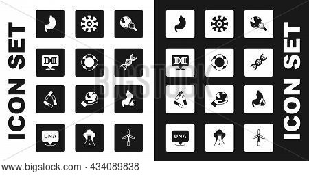 Set Magnifying Glass With Globe, Molecule, Dna Symbol, Human Stomach, Bacteria, Stomach Heartburn An