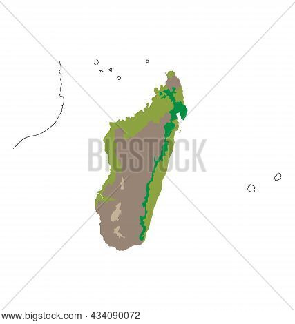 Map Of Madagascar - Habitat Distribution - Flat Vector Isolated