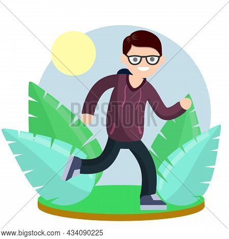 Young Man In Hoodies. Running And Sports. Active Lifestyle. Movement And Walking. Cartoon Flat Illus