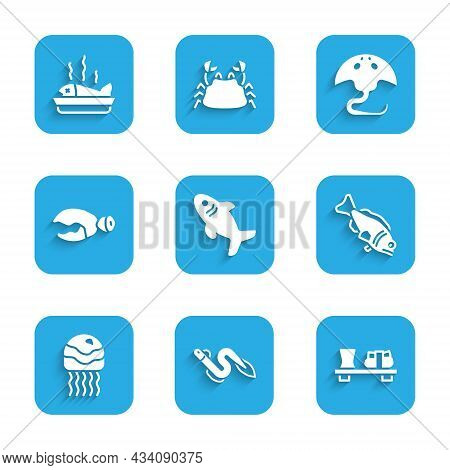 Set Shark, Eel Fish, Sushi On Cutting Board, Fish, Jellyfish, Lobster Or Crab Claw, Stingray And Ser