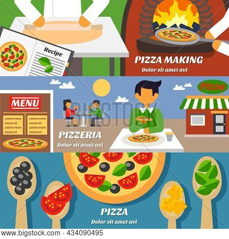 Pizza Making Horizontal Banners Set With Pizzeria Building Menu And  Ingredients Flat Isolated Vecto