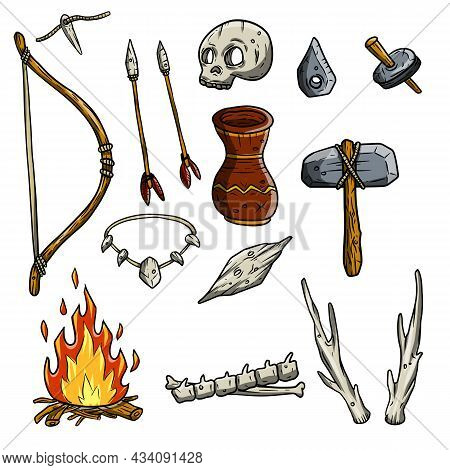 Set Of Tools And Weapons Of The Caveman. Bow, Arrow, Necklace, Skull, Jug, Fire, Spine, Bones, Deer