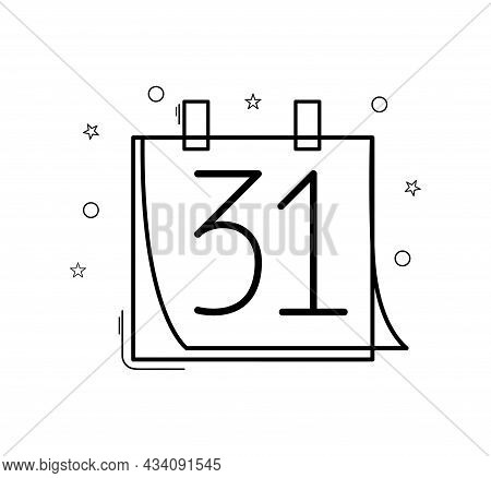 December 31 Linear Icon. New Year`s Eve Outline Illustration. Vector Calendar Art On White Backgroun
