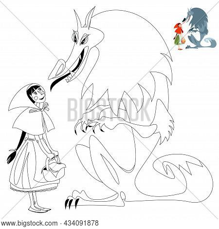 Little Red Riding Hood And Big Bad Wolf. European Folk Tale. Coloring Page. Vector Illustration