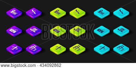 Set Plane, Suitcase, Airline Ticket, Calendar And Airplane, Landing And Airport Control Tower Icon.