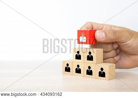 Hand Choose Human With Head Light Bulb Icon On Cube Wooden Block Stack Pyramid For People Business T