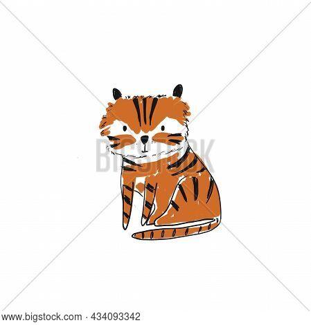 Cute Sketch Hand Drawn Color Pencil Simple Orange Tiger Illustration. Bright Cartoon Childish Funny