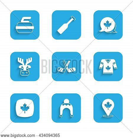 Set Ice Hockey Sticks, Winter Hat, Canadian Maple Leaf, Hockey Jersey, Deer Head With Antlers, And S