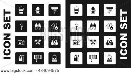 Set Smoke Alarm System, Firefighter Helmet, Burning Match With Fire, Bucket, Burning House, Hydrant,