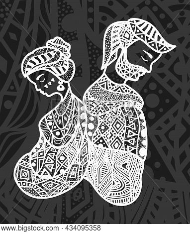 Vector Illustration Of Man And Woman. Ethnic Patterns. Relationship Psychology. Disagreements In The