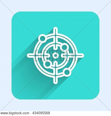 White Line Target Sport Icon Isolated With Long Shadow Background. Clean Target With Numbers For Sho