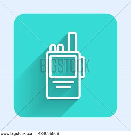 White Line Walkie Talkie Icon Isolated With Long Shadow Background. Portable Radio Transmitter Icon.