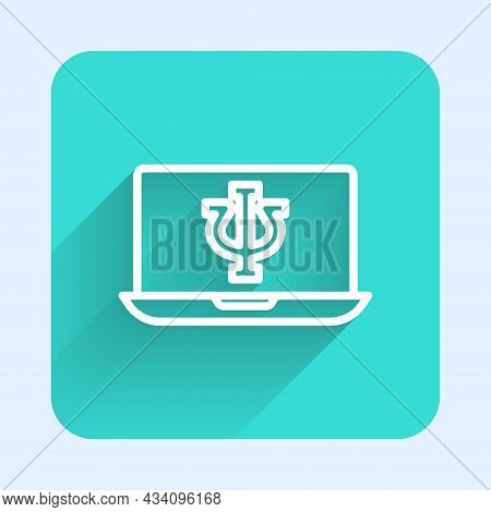 White Line Online Psychological Counseling Distance Icon Isolated With Long Shadow Background. Psych