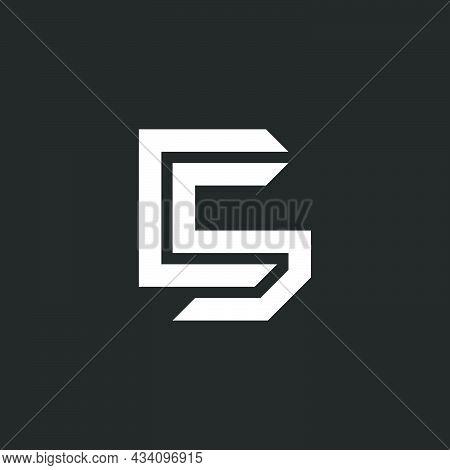 Creative C5 Symbol Mockup, Initials Two Letters Sc Or Cs Logo Monogram, Overlapping Lines, Pair Lett