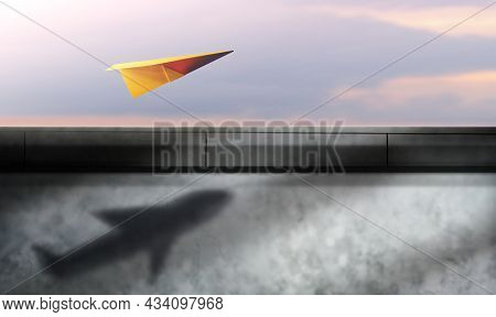 Think Big, Startup And Motivation Concept. Paper Airplanes Flying In The Sky And Shading Shadow As A