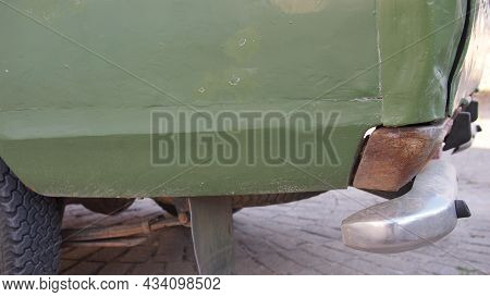 Rear Fender Of Retro Car Close-up, Greece, Halkidiki, Arnaia