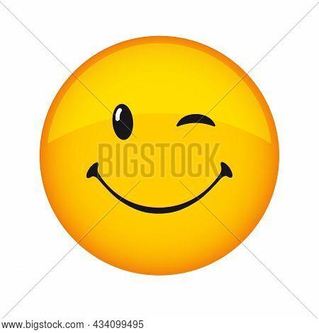 Creative Smile Icon, Holiday 3d Wink Sign. Smiling Emoticon Vector Logo. Happy World Smile Day, Happ