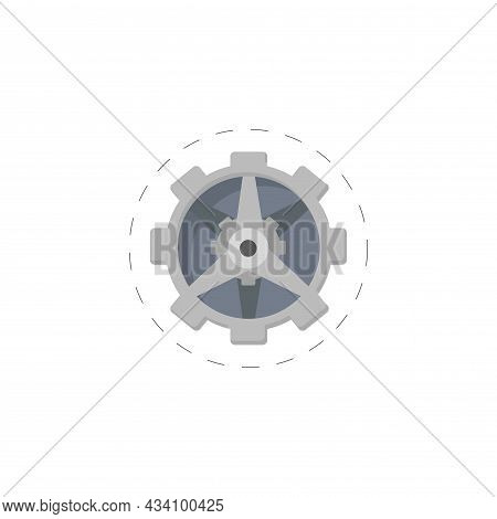 Gear Icon. Mechanism Vector Colorful Clipart. Gear Flat Illustration.