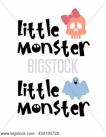 Halloween Typography Logo Design With Quotes - Little Monster