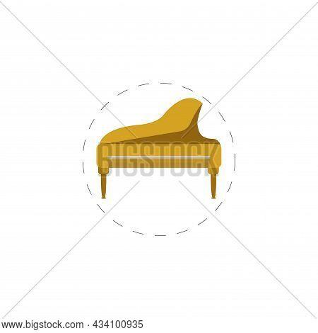 Grand Piano Vector Colorful Clipart. Grand Piano Flat Illustration