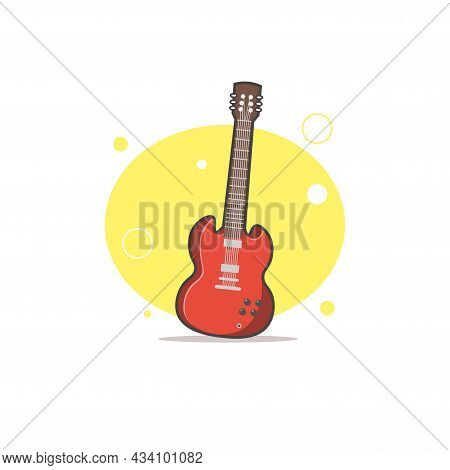 Electric Guitar Vector Colorful Clipart. Electric Guitar Flat Illustration