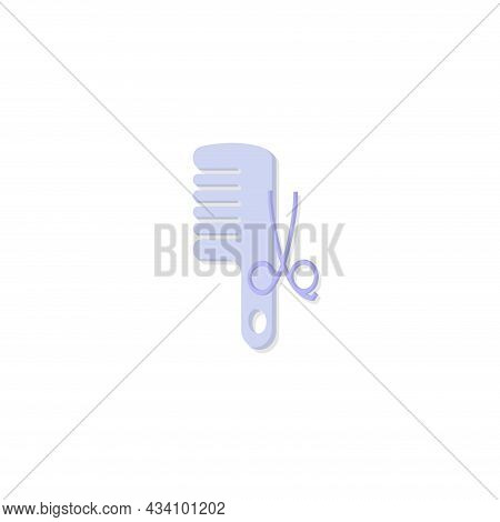 Comb And Scissors. Hairdresser Tools Vector Colorful Clipart. Comb And Scissors Flat Illustration