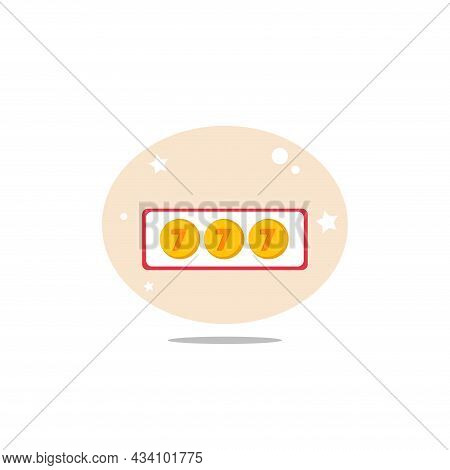 Jackpot Casino Slot Vector Clipart. Casino Slot Flat Illustration