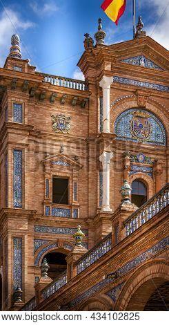 Seville, Spain - June Circa, 2020. No Tourist At Spanish Square, Plaza De Espana, In Sevilla In A Be