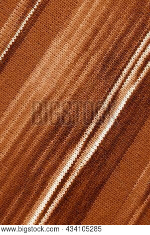 Gradient Brown Striped Alpaca Knitted Wool Fabric In Diagonal Patterns