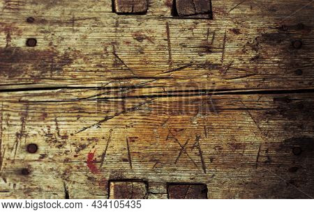 Old Wooden Board With Scratches. Barn Background With Copy Space.