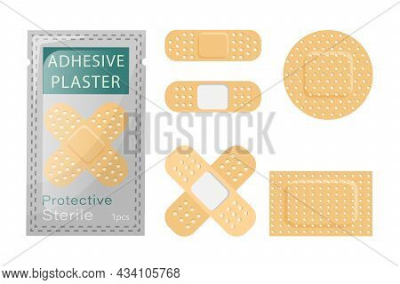 A Set Of Adhesive Plaster For Wounds. Sterile Medical Plaster Packaged. Plasters Of Different Shapes