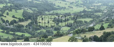 Panorama Landscape Image Of Peak District National Park Valley In English Countryside During Late Su
