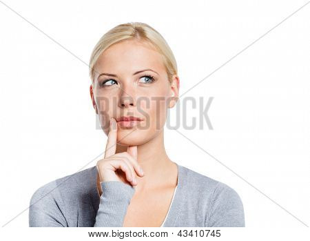 Pensive woman touching her face, isolated on white